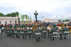 La banda militar el Tirol (Austria) se realiza en Moscú Fotos de archivo