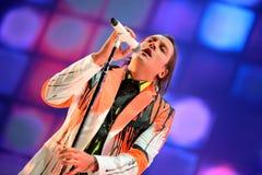 La banda rock indipendente di Arcade Fire esegue al suono 2014 di Heineken Primavera Fotografia Stock Libera da Diritti