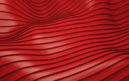 La banda rossa ondeggia il fondo futuristico 3d rendono Fotografia Stock