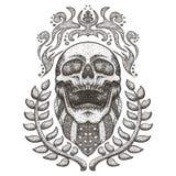 La bandana S.U.A. del cranio inbandiera l'illustrazione d'annata di vettore illustrazione di stock