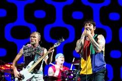 La bande d'un rouge ardent de musique de Chili Peppers exécute de concert au festival de BOBARD images libres de droits