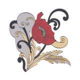 La bande dessinée abstraite de fleur, dirigent tiré par la main La fleur rouge de pavot de bourgeon, pétales, tige, part et des b Image libre de droits