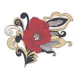 La bande dessinée abstraite de fleur, dirigent tiré par la main La fleur rouge de pavot de bourgeon, pétales, tige, part et des b Image stock