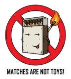 La bande dessinée assortit la boîte Les matchs ne sont pas des jouets Matchs dans une boîte d'allumettes Photo stock