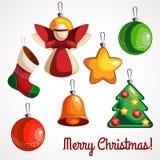 La bande dessinée a coloré des jouets pour l'arbre de Noël de différentes formes illustration libre de droits