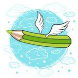 La bande dessinée a coloré le crayon avec des ailes dans les nuages Image stock