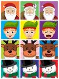 La bande dessinée d'homme de Noël fait face à l'illustration de vecteur Photo libre de droits