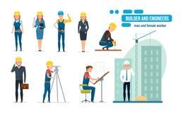 La bande dessinée d'ingénieurs a placé avec les travailleurs de la construction, l'architecte, le dépanneur et le directeur illustration libre de droits