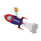 La bande dessinée d'Officeman et montent une fusée Images stock