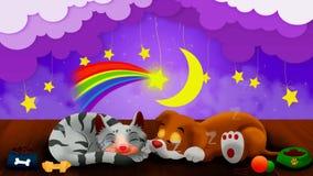 La bande dessin?e de chien et de chat dorment ensemble, le meilleur fond de vid?o de boucle pour mettre un b?b? pour dormir calma banque de vidéos