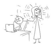 La bande dessinée de l'employé de bureau a dérangé mais téléphone appelle le collègue illustration libre de droits