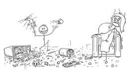 La bande dessinée de Little Boy vilain faisant le désordre, mère épuisée se repose dans le fauteuil illustration de vecteur