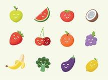 La bande dessinée de sourire heureuse porte des fruits icône illustration de vecteur