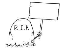 La bande dessinée de vecteur du bras squelettique colle hors de la prise grave Image stock
