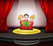 La bande dessinée des enfants chantent en choeur l'exécution sur l'étape illustration libre de droits