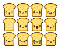 La bande dessinée drôle de caractère de mascotte de bande dessinée de pain grillé de tranche de pain a placé avec différentes émo illustration stock