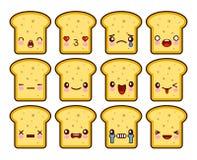 La bande dessinée drôle de caractère de mascotte de bande dessinée de pain grillé de tranche de pain a placé avec différentes émo illustration de vecteur