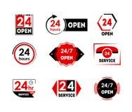 La bande dessinée 24 heures ouvrent l'ensemble d'icône d'étiquette de service Vecteur Illustration de Vecteur