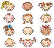 La bande dessinée heureuse badine des visages Photo stock