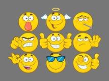 La bande dessinée jaune drôle Emoji font face au jeu de caractères 3 de série ramassage Photo libre de droits