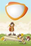 La bande dessinée mignonne badine dans l'équipement d'explorateur sur un parc vert illustration stock