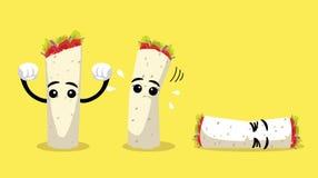 La bande dessinée mignonne de chiche-kebab d'enveloppe fait face à l'illustration de vecteur illustration de vecteur