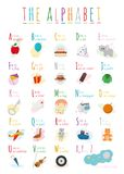 La bande dessinée mignonne a illustré l'alphabet avec des noms et des objets Alphabet anglais Photo stock