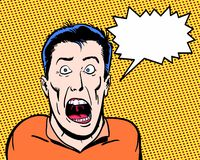 La bande dessinée a montré le caractère fou criant avec le fond orange Photographie stock libre de droits