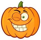 La bande dessinée orange de sourire Emoji de légumes de potiron font face au caractère avec cligner de l'oeil l'expression Images stock