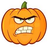 La bande dessinée orange fâchée Emoji de légumes de potiron font face au caractère avec l'expression grincheuse Image stock