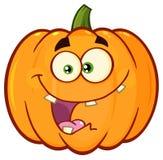 La bande dessinée orange folle Emoji de légumes de potiron font face au caractère avec l'expression Image stock