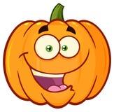 La bande dessinée orange heureuse Emoji de légumes de potiron font face au caractère avec l'expression Photos stock