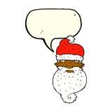 la bande dessinée Santa sinistre font face avec la bulle de la parole Photos libres de droits