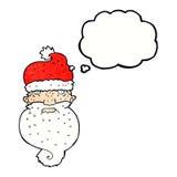 la bande dessinée Santa sinistre font face avec la bulle de pensée Image libre de droits