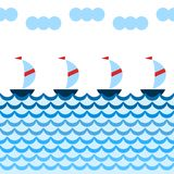 La bande dessinée simple fait de la navigation de plaisance la navigation en mer bleue, frontière sans couture, vecteur Photos stock