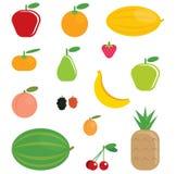 La bande dessinée simple shinny la collection de fruits Images libres de droits