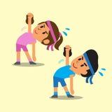 La bande dessinée un homme et une femme faisant le moulin à vent de kettlebell s'exercent Photo stock