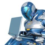 La bande dessin?e d'astronaute de Sci fi se repose avec l'ordinateur portable sur son recouvrement ? un arri?re-plan blanc illustration libre de droits