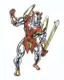 La bande dessinée a montré le caractère cosmique avec une épée dans la pose d'action Photographie stock libre de droits