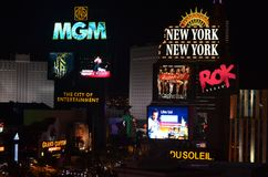 La bande, Mgm Grand, Las Vegas, Mgm Grand bande de Las Vegas, Las Vegas, nuit, enseigne au néon, signage, néon images libres de droits