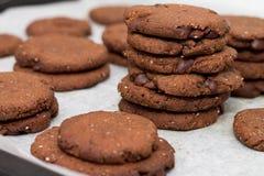 La bandeja de galletas de la semilla del chia del cacao del chocolate apiladas en blanco seca imagen de archivo