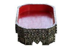 La bandeja tailandesa septentrional tradicional de la comida de Chiang Mai del arte antiguo, hecha de la madera y pintada con roj Imagen de archivo