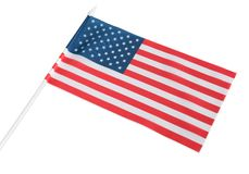 La bandera americana se a?sla en un fondo blanco foto de archivo libre de regalías