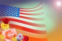 La bandera americana y subió Imágenes de archivo libres de regalías