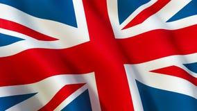 La bandera británica de Union Jack, agitando en el viento ilustración del vector