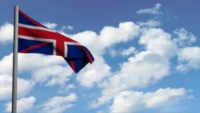 La bandera brit?nica en el fondo con las nubes blancas, animaci?n del cielo del ordenador 3d, rinde el v?deo stock de ilustración