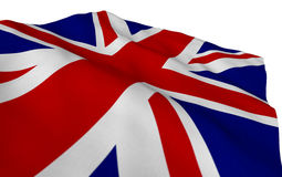 La bandera británica que fluía en el viento detalló textura Parte de un sistema Foto de archivo libre de regalías