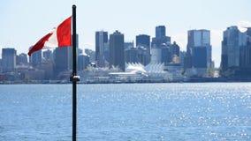 La bandera canadiense que agita en el cielo almacen de metraje de vídeo