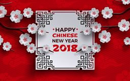 La bandera china 2018 del Año Nuevo con el marco adornado blanco, Sakura/cereza florece el árbol, fondo rojo del modelo con las n ilustración del vector