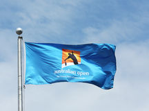 La bandera de Abierto de Australia en Billie Jean King National Tennis Center durante el US Open 2013 Fotos de archivo libres de regalías